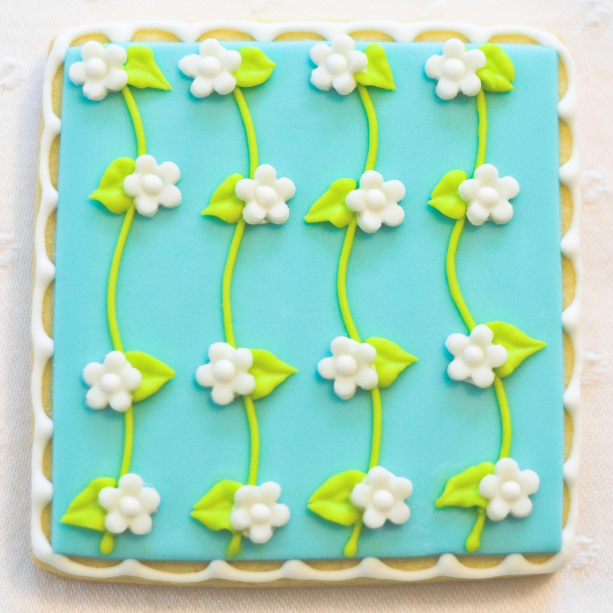 Wedding Cookie - Blue with Connected White Flowers