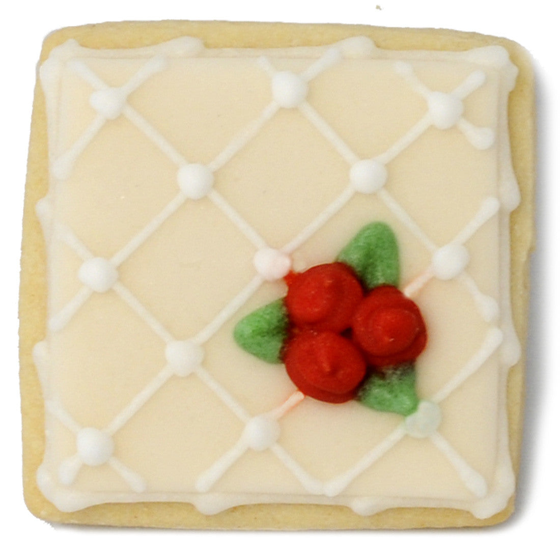 Wedding Cookie - White Lattice with Red Roses