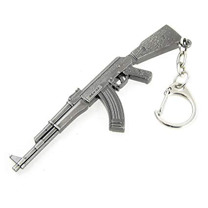 Solid Metal Replica AK-47 Rifle Key Ring