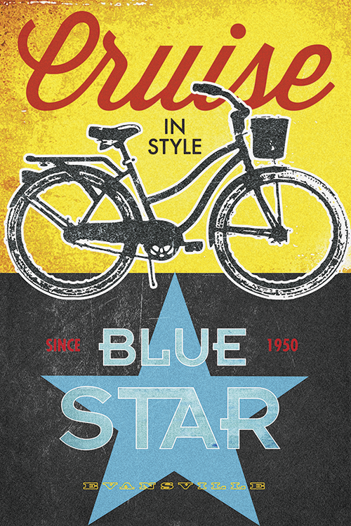 Blue Star Bicycles Print - MOLTENI CYCLING