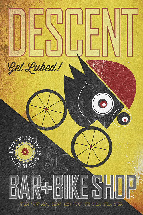 Descent Bar & Bike Shop Print - MOLTENI CYCLING