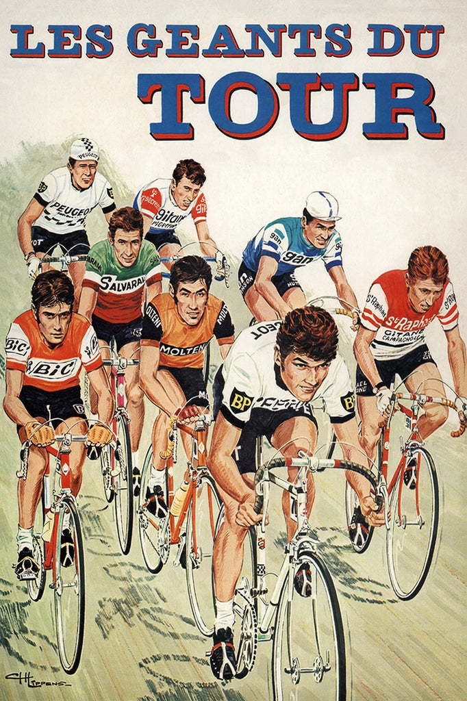 The Giants of the Tour Bicycle Poster - MOLTENI CYCLING