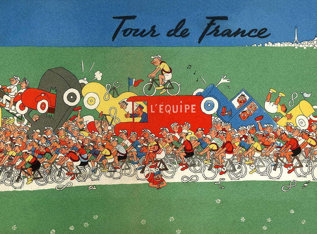 Tour De France Bicycle Chaos Poster - MOLTENI CYCLING