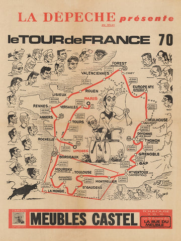 Eddy Merckx 1970 Tour de France Map Poster