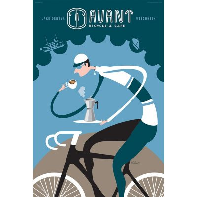 Avant Bicycle & Cafe Art Print - MOLTENI CYCLING