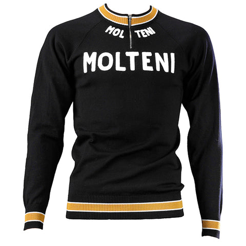 Black Molteni Merino Wool Vintage Track Top - MOLTENI CYCLING