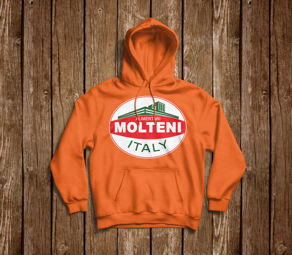RETRO MOLTENI ALIMENTARI LOGO ORANGE HOODIE - MOLTENI CYCLING