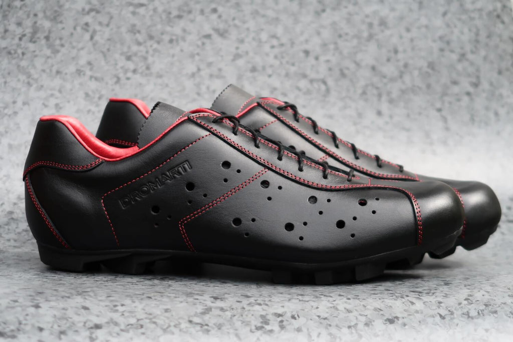 Sportivo Touring Nero Rosso - Black/Red Leather Shoe - MOLTENI CYCLING