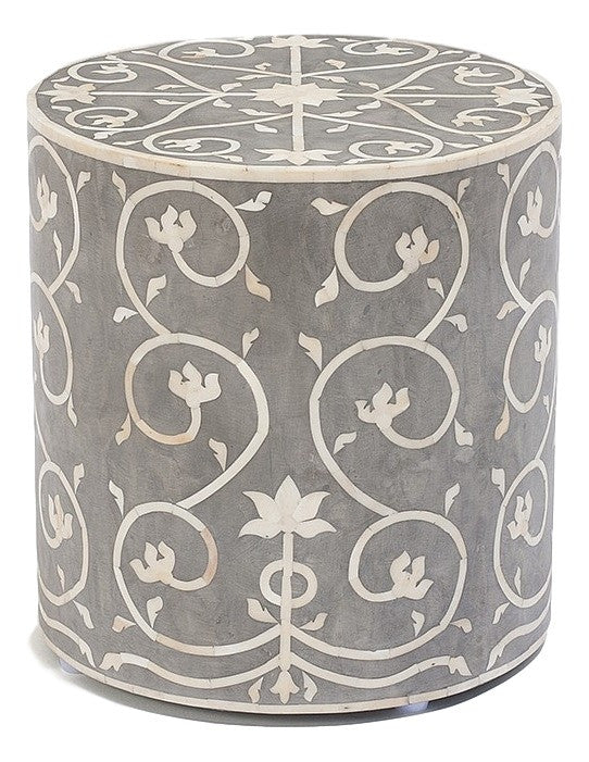 Bone Inlay Furniture   Contemporary Grey Wood Round Stool | Free Shipping