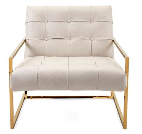 gold and ivory white leather tufted accent chair