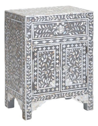 Bone Inlay Furniture   Grey / Gray Nightstand Side Table Floral Pattern |  Free Shipping