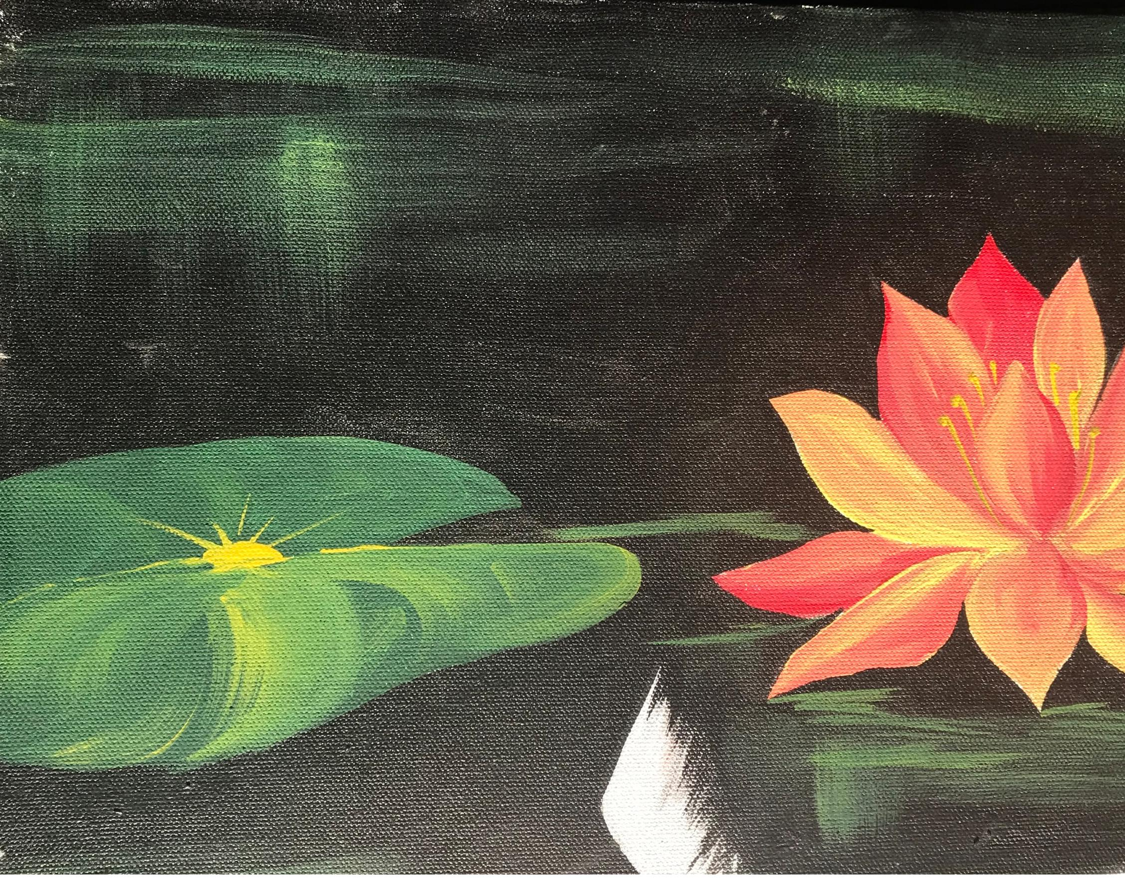 Original Koi Fish Lotus Orange Green Painting Feng Shui Art