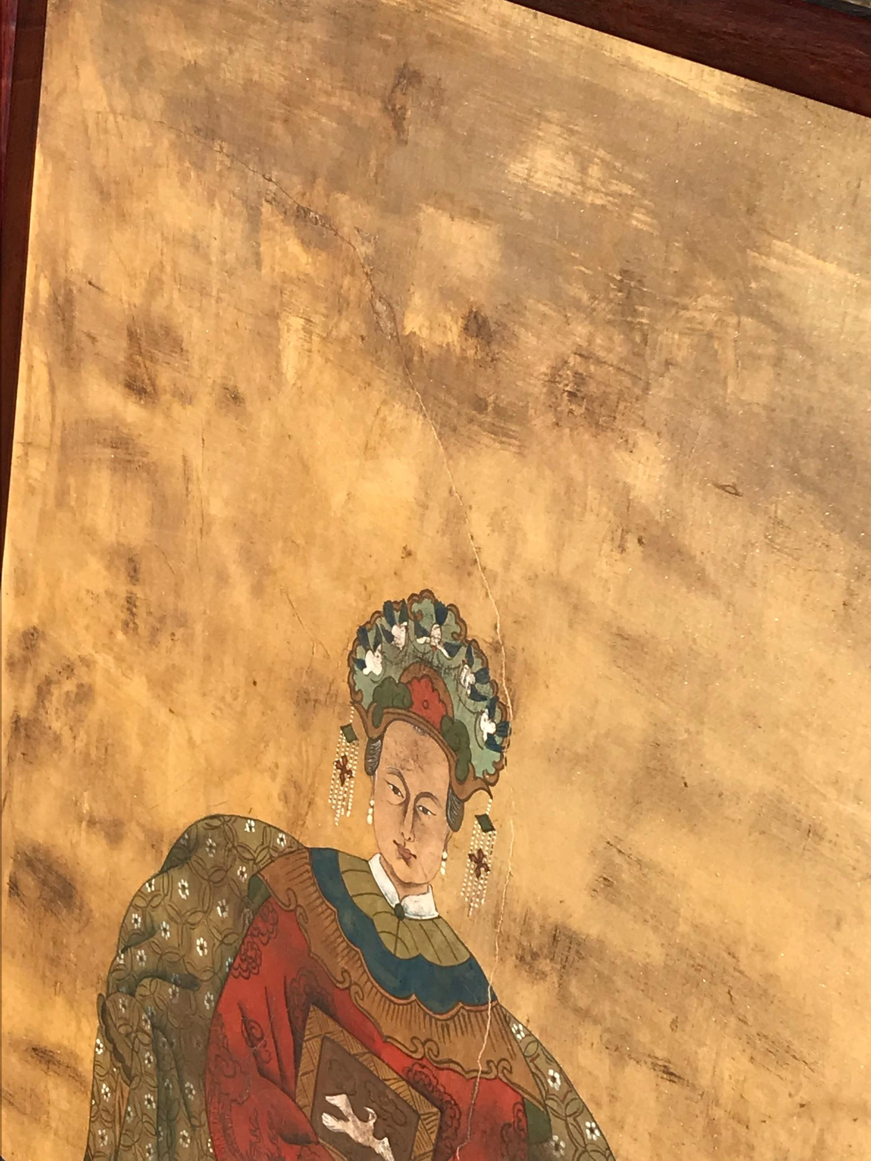 Vintage Chinoiserie Chic Empress Hand Painted Distressed Painting ...