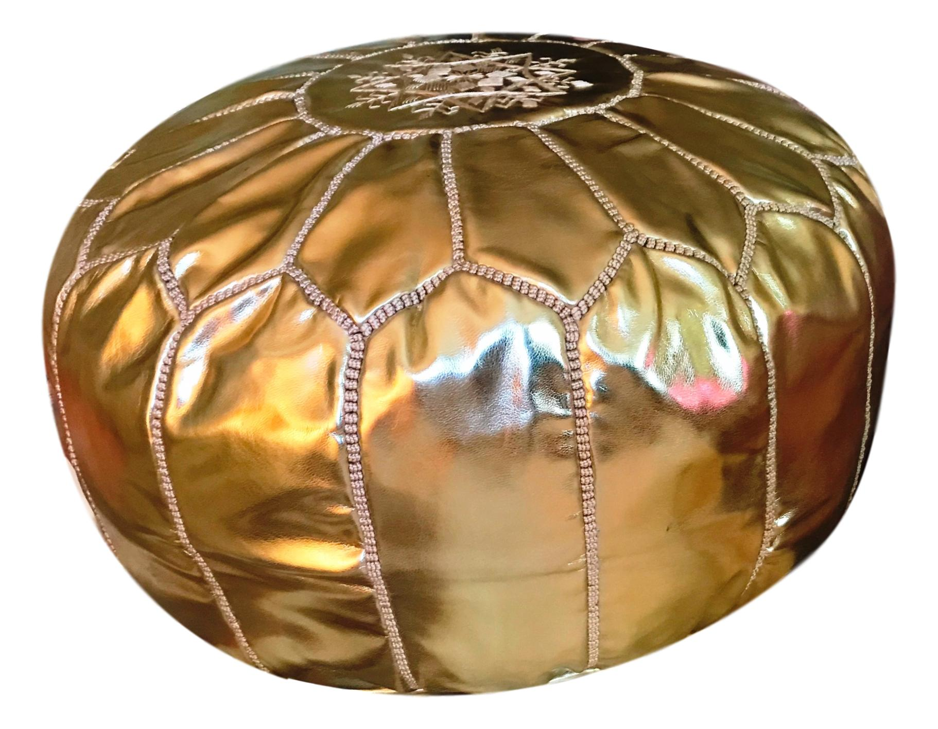 Large Authentic Gold Moroccan Leather Pouf Ottoman Footstool ...