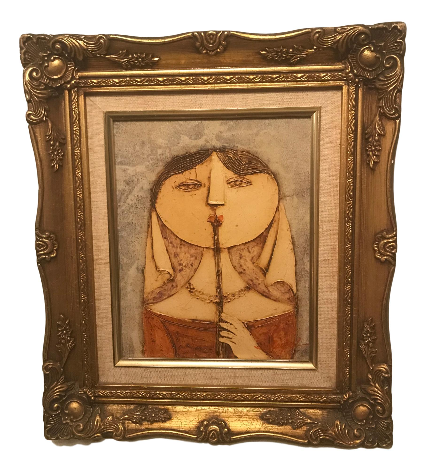 Framed Vintage Oil Painting of Lady In Waiting & Flute Ornate Gold ...