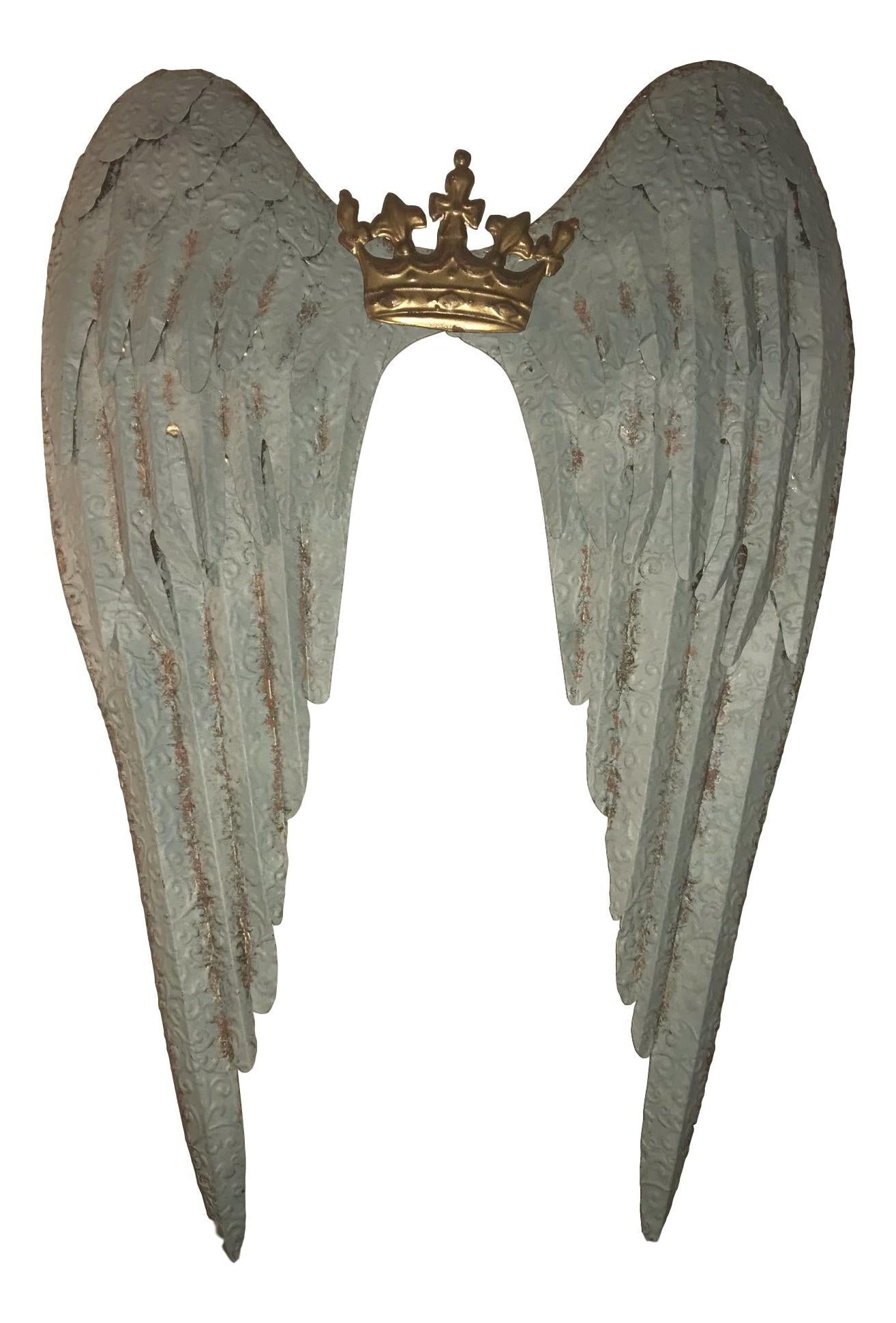 Last Minute Gift Fast Shipping Large Metal Crown Angel Wings