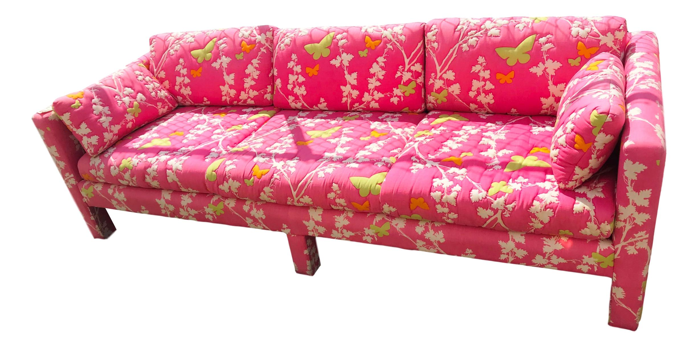 Chinoiserie Lilly Pulitzer Parsons Style Pink Tuxedo Sofa