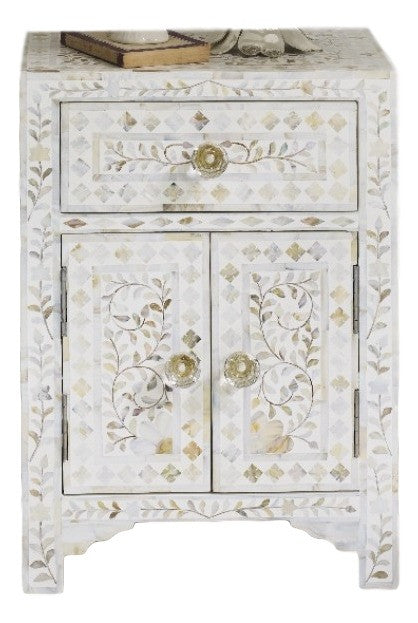 Bone Inlay Furniture   White / Neutral Nightstand Side Table Floral Pattern  | Free Shipping