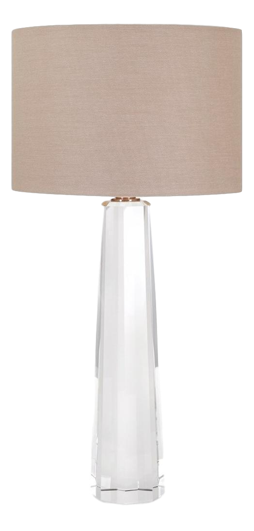 Restoration Hardware Style Faceted Crystal Column Table Lamps   A Pair