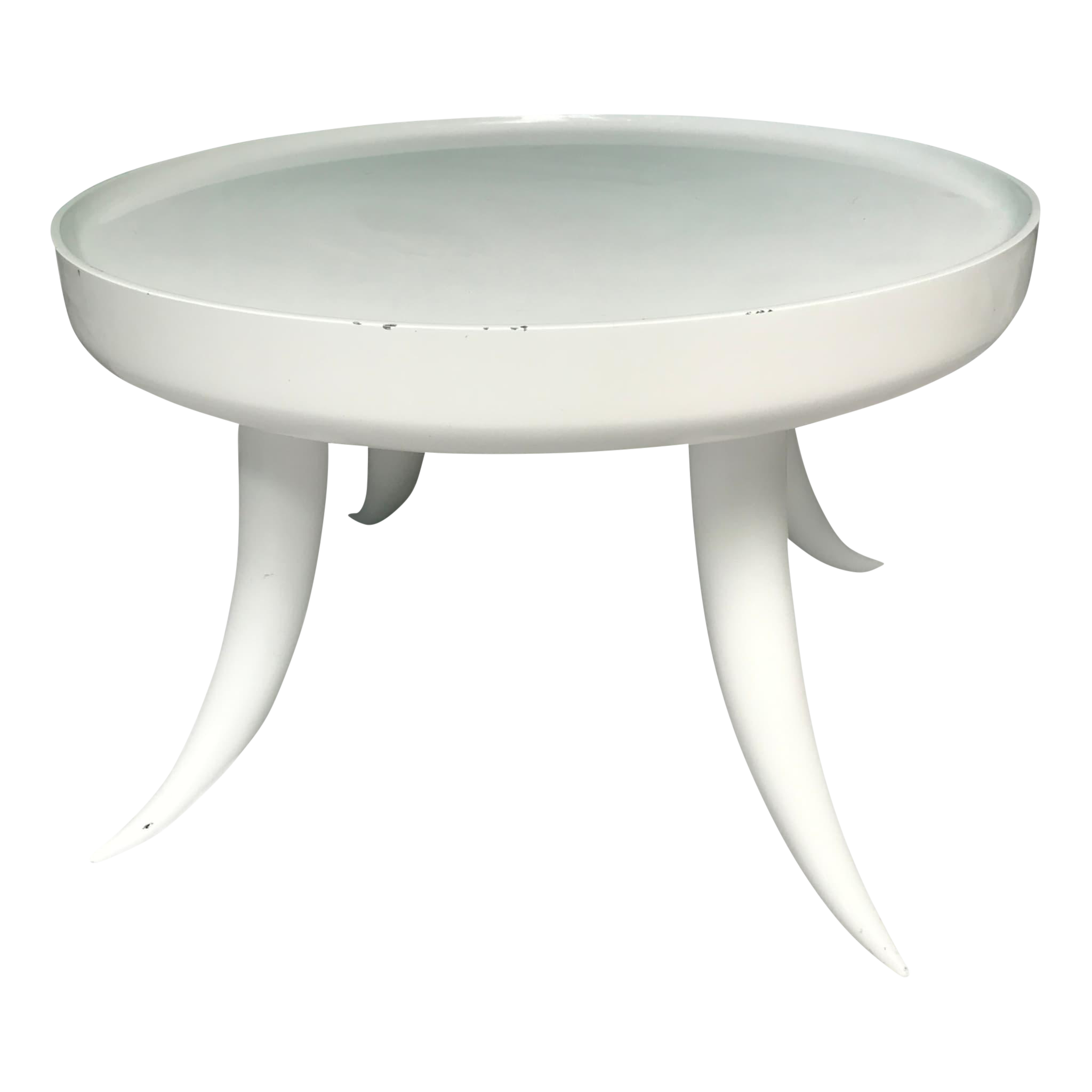 Jonathan Adler Lacquer Tusk White Coffee Cocktail Table | Statement Piece