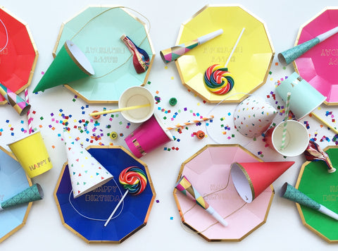 Planning a birthday party? mix & match the happy birthday plates, napkins and cups, with some multicoloured confetti and party hats, to make a really colourful impact!