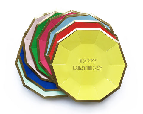 Multicoloured Happy Birthday Plates