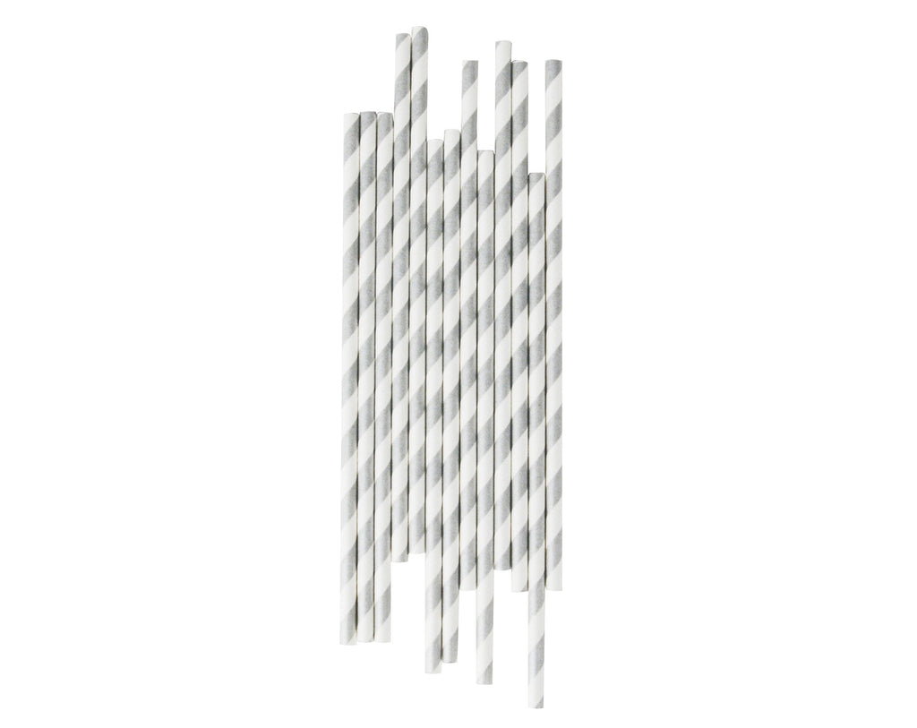 Silver & White striped Paper straws