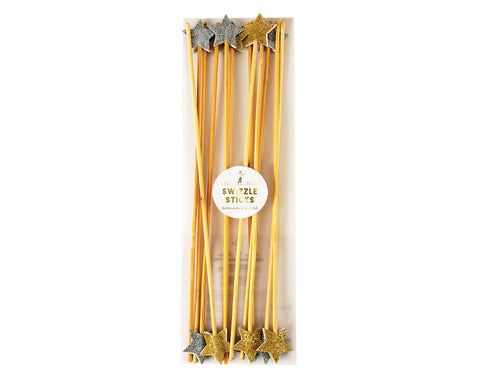Swizzle sticks Gold & Silver stars