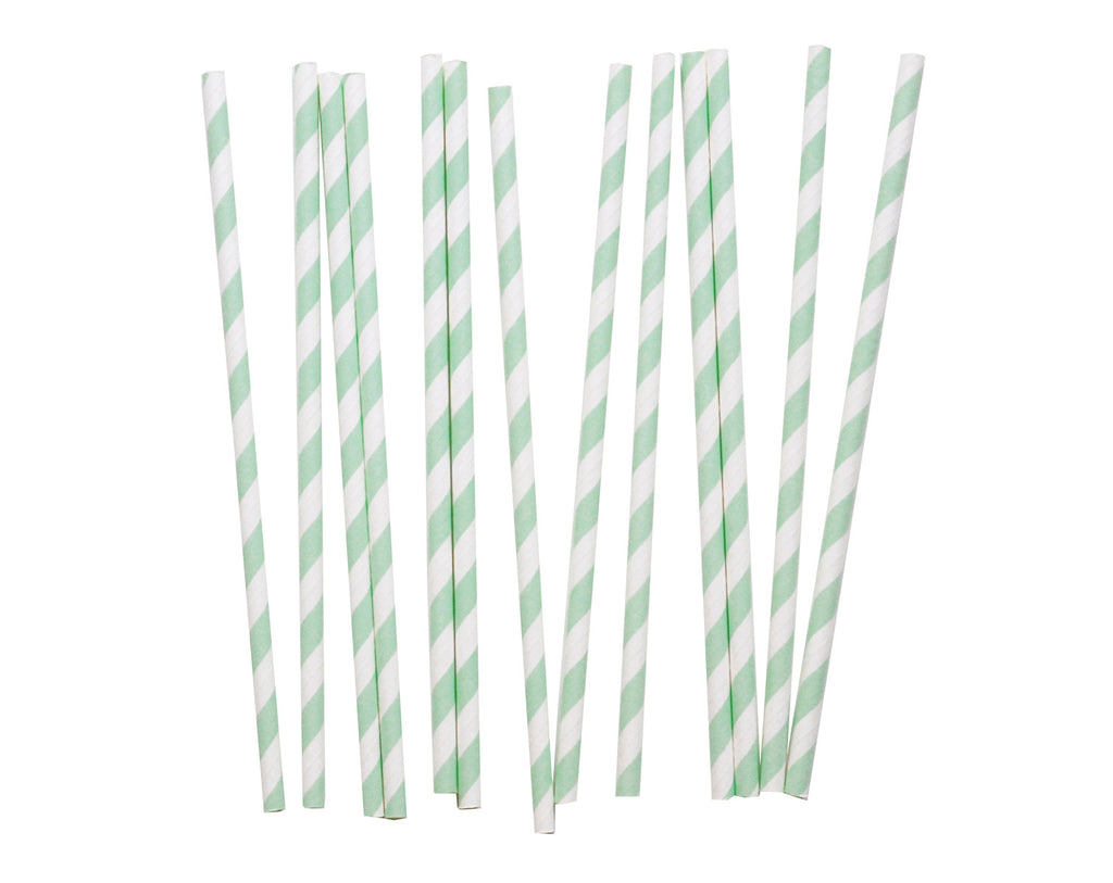 Striped aqua green & White Paper straws