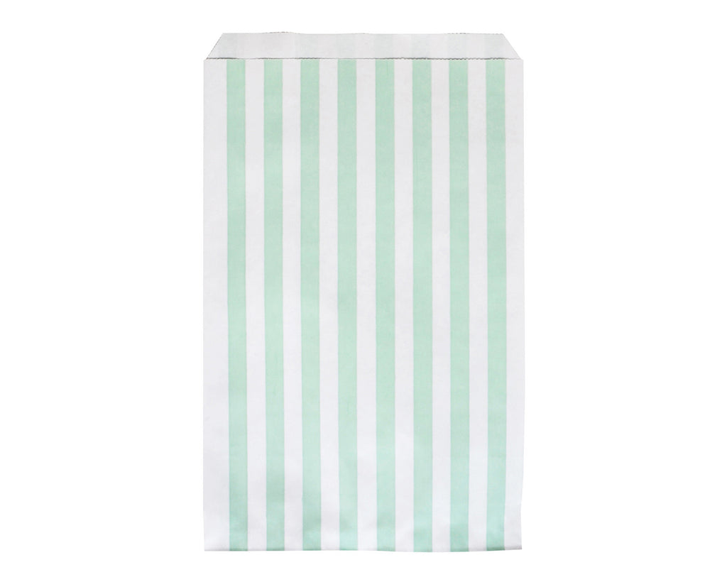 Striped aqua green party bags