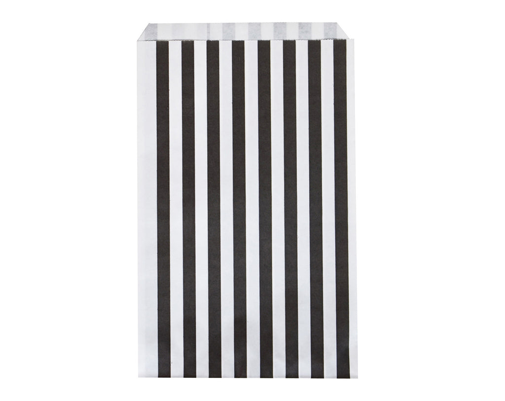 Black striped party bags