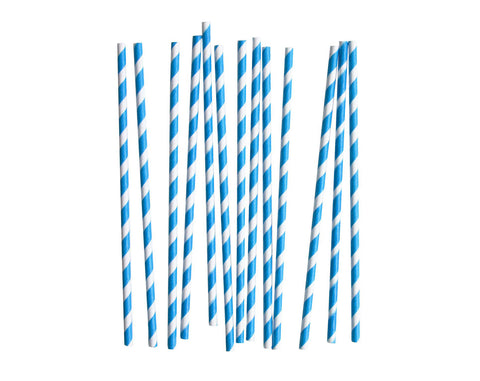 Blue & White striped Paper straws