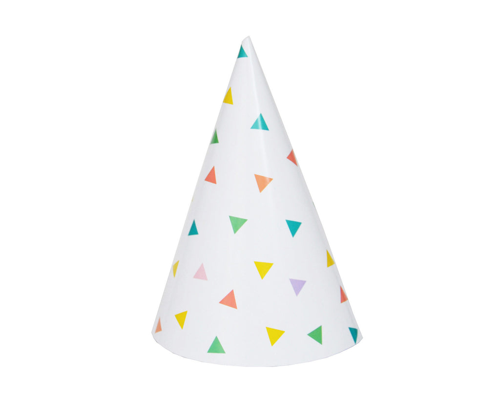 Multicoloured triangle party hats