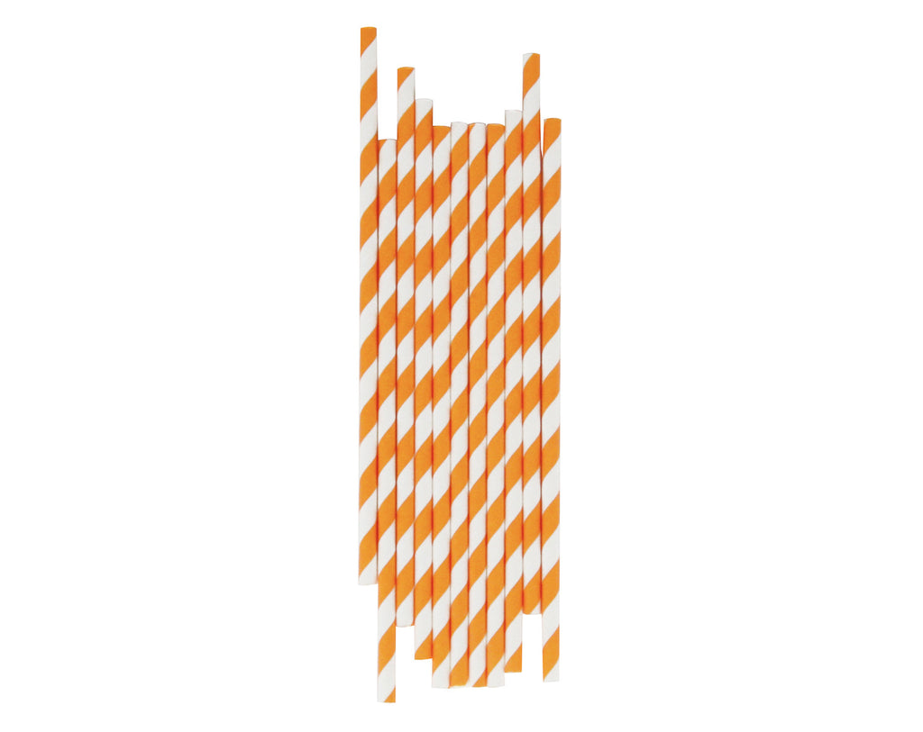 Orange & White striped Paper straws