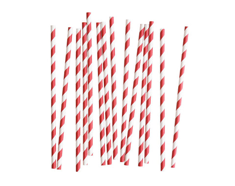 Red & White striped Paper straws