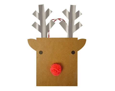 Reindeer with Pom-Pom Gift Bag