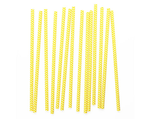 Yellow & White chevron Paper straws