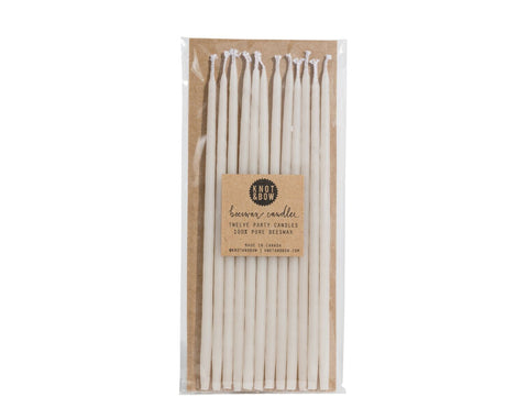 Tall White Hand-dipped Beeswax Candles