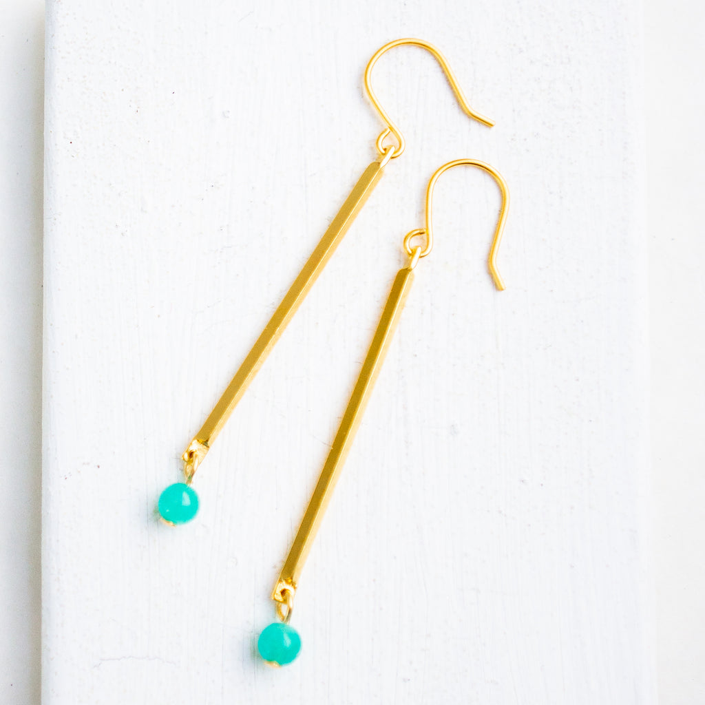 Nest Pretty Things - Skinny Stick Gemstone Earrings