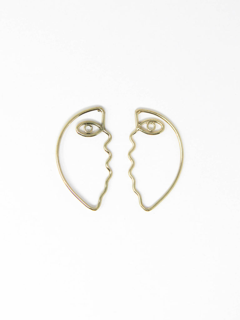 Rover & Kin - Abstract Face Outline Earrings