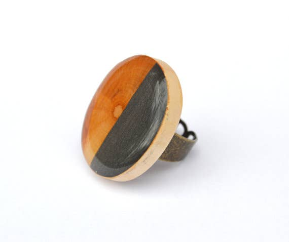 Starlight Woods - Gunmetal Two Tone Wood Ring
