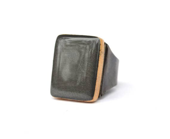 Starlight Woods - Charcoal Grey Wood Cocktail Ring