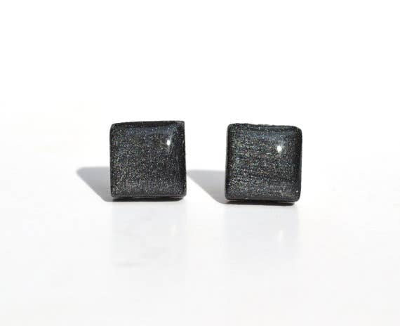 Starlight Woods - Charcoal Grey Metallic Studs Square Post Earrings