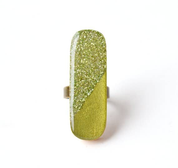 Starlight Woods - Green Long Wood Statement Ring