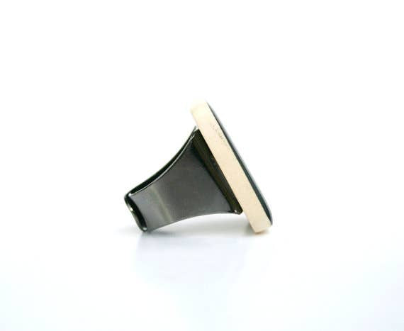 Starlight Woods - Jet Black Wood Cocktail Ring
