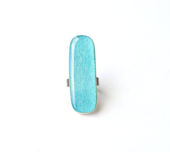 Starlight Woods - Blue Topaz Long Wood Statement Ring