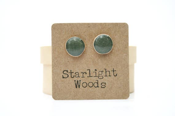 Starlight Woods - Charcoal Grey Stud Wood Earrings