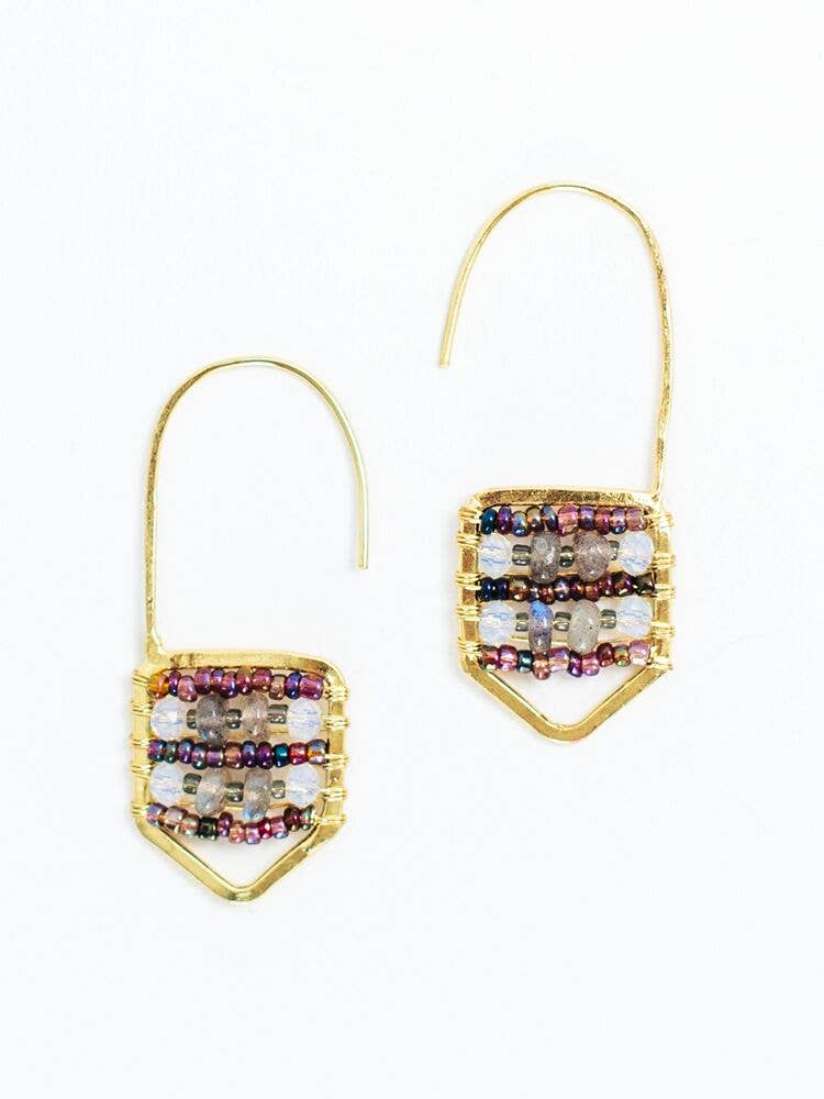Mata Traders - Kinsley Hook Purple Earrings