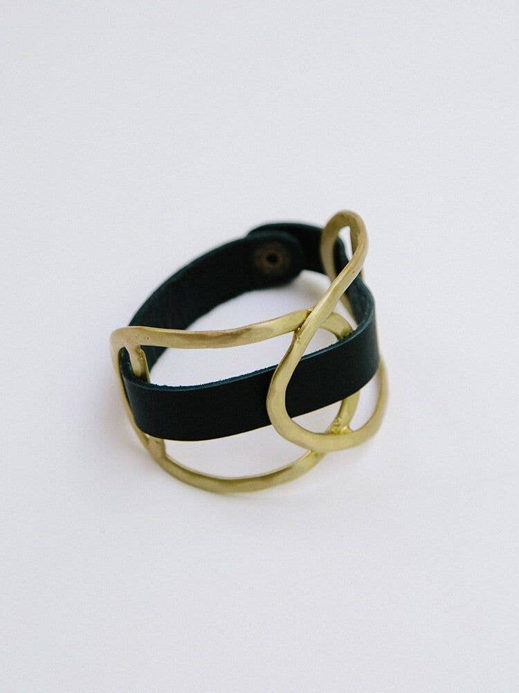 Mata Traders - Leather Wrap Gold Cuff