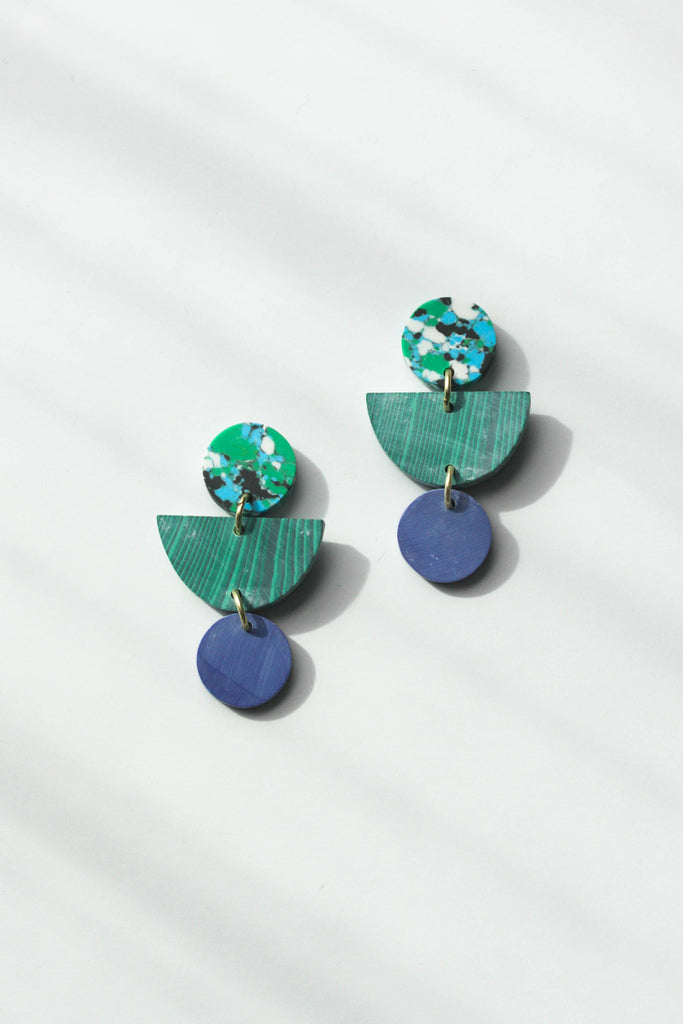 Rover & Kin - Geo Clay Earrings in Rainforest